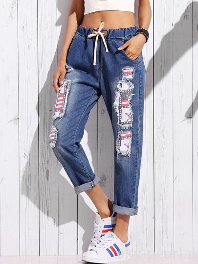 джинсы с заплатками