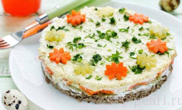 салат из печени слоеный